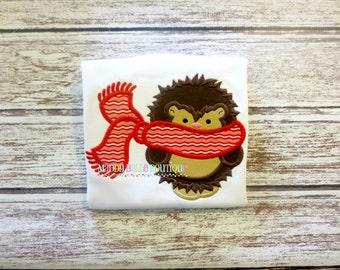 Boys Winter Hedgehog Appliqued Shirt - Embroidered, Personalized, Monogram, Hedgehog, Boy Hedgehog, Winter, Snow, Winter Hedgehog Shirt