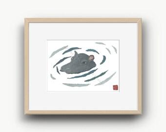 Hippo Print, Hippopotamus, Hippo Artwork, Hippo Swimming, Kitchen Hippo Decor