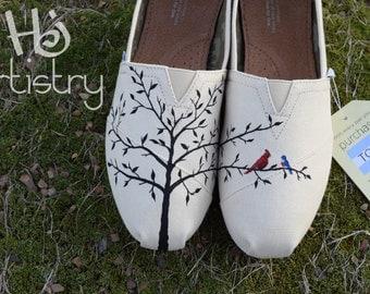 Love Bird Wedding Toms, Anniversary Gift, Birthday, Valentine's Day Toms etc. Love Bird Vans, Love Bird Chucks