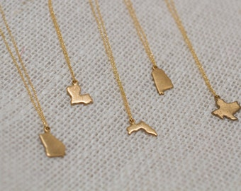 Tiny Gold State Charm Necklace, pick your state, pick your length, holiday - gift - state pride - sister