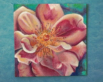 ORIGINAL Mini Painting- Pink Floral Magnet Painting- Loving You
