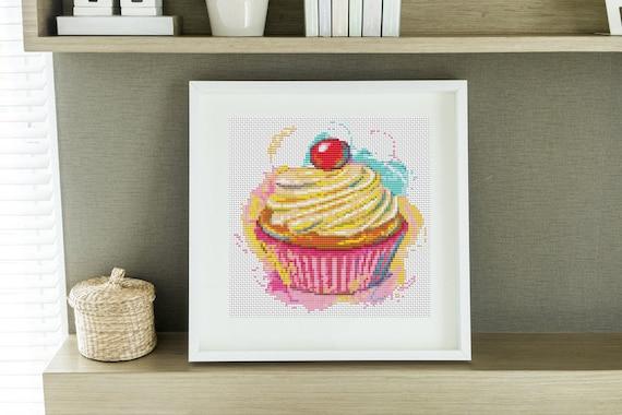 Mini Cross Stitch PATTERN Kitchen Series: Yummy Cupcake, Cross Stitch Chart PDF
