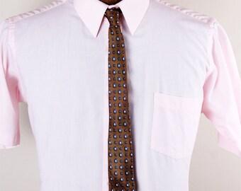 1960s Wembley Brand Skinny Mens Brown Navy Flower Tie Necktie
