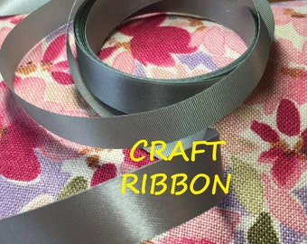 60 YARDS, Gray Satin Craft Ribbon, Water Repellent Acetate, 5/8 Inch Wide, C108