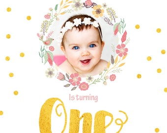 Gold and pink /  floral wreath 1st Birthday invitation -  Printable Birthday Invitation - DIY Printing - JPEG File