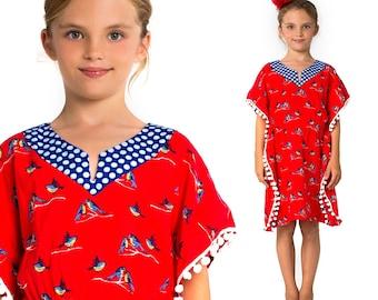 Girls Kaftan Pattern PDF, Dress Pattern, Childrens Sewing Pattern, Girls Sewing Pattern, Coverup Pattern,  Top Pattern, KAFTAN