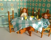 Cream and Green Country Dining Room with handmade furniture for all 710 dolls Mme Alex, Mini AG, Betsy McCall, Blythe, Ginny, Sindy