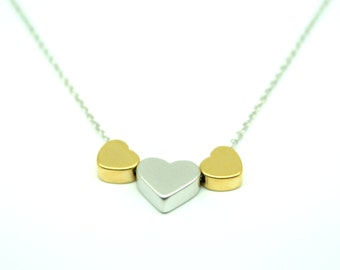 Three heart necklace, valentine necklace, brides necklace, bridesmaid necklace, wedding jewellery, sweetheart necklace