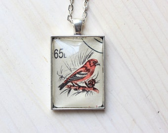 Red Bird, Old Romanian Stamp