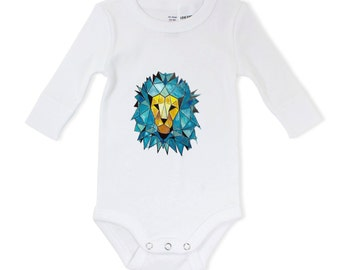 Baby lion, Unique baby gift, painted babygrow, animal baby bodysuit