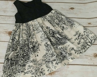 Size 2 Black and Ivory Toile Classic Girls Dress Ready to Ship