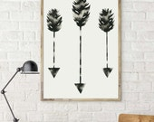 Arrow Watercolor Painting, Modern Arrows Art, Minimalist Arrow Artwork, Minimal Scandinavian Painting, Black and White Arrows, Feather Arrow