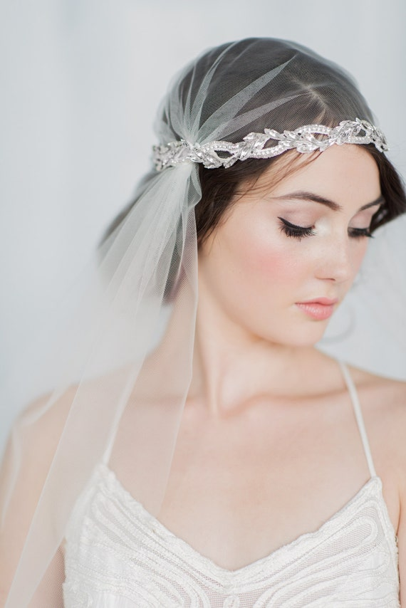 Crystal Juliet Veil, Silver Juliet Veil, Crystal Wedding Veil, Ivory Veil, Embroidered Veil, Beaded Veil, Ivory Juliet Veil, CAROLINE
