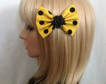 Yellow black polka dot lace rose hair bow clip rockabilly psychobilly Lolita pin up girl pretty cute vintage shabby chic pretty lace