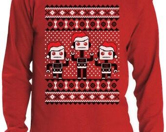 Santa's Three Dancing Robots Ugly Christmas Sweater Men's Long Sleeve T-Shirt