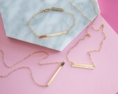 Valentine's Day Gift Coordinates Bar Bracelet or Necklace, Personalized Bracelet, Gold Bar Necklace, Personalized Gift Idea, 14k dainty