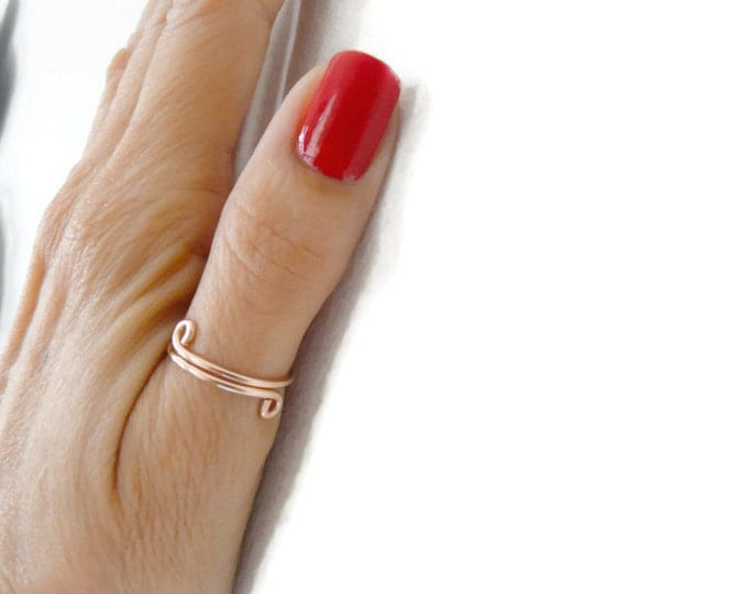 Thumb Ring Adjustable Rose Gold Filled Ring Multifinger Woman Ring Handmade