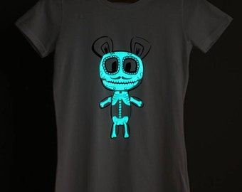 Blue Candy Skull Glow-in-the-dark Woman T-shirt