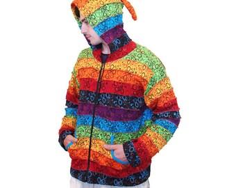 Men Rainbow Patchwork Jacket - Pixie - Hippie - Men - Women - Pointed Hood - Polar Lining - Warm - Fleece Lined- Rainbow Clothing