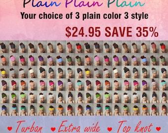 Three PLAIN headband  Three style /Turbun/Extra wide/Top knot Only 24.95 USD.