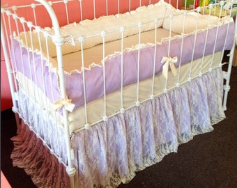 Baby Bedding Crib Bedding - Ivory Lace, Lavender Cotton - Baby Girl Bedding - Purple Crib Bedding - Baby Shower - Lace Crib Bedding