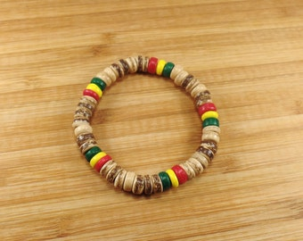 Rasta Bracelet - Coconut Wood Beads -  Jamaican Bracelet - Brown Bracelet - Brown Wooden Bracelet-White Rasta Bracelet-Brown Beaded Bracelet