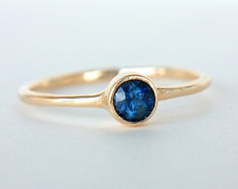 Blue Sapphire Ring 14k Yellow Gold Natural Sapphire Gold Ring Made in Your Size Sapphire Engagement Ring