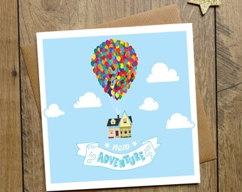 New Adventure Card - New Home Card - House Move - House Warming Card - Carl And Ellie - Balloons - First Home Card - Travelling