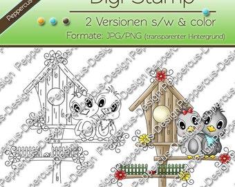 Digi stamp set - birdie with Bird House