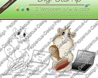 Digi stamp set - Guinea pig with stamps-E0019