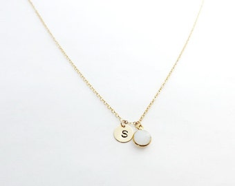 Opalite Gold Initial Coin Birthstone Necklace, June Birthstone Necklace, Personalized Necklace, Bridesmaid Gift, Initial Necklace