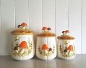 3 Mushroom 1970's Ceramic Canisters