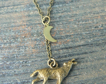 Wolf necklace wolf howling at the moon necklace Totem neckace  Tribal necklace in hipster boho hippie gothic