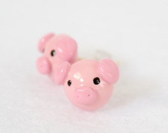 Pink Piglet Earrings - Handcrafted Polymer Clay Jewelry - Silver Plated, Nickel Free, Lead Free Post Earrings