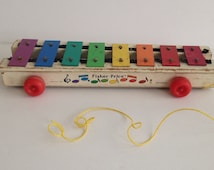 Vintage 1970's Fisher Price Xylophone Pull Toy / FP Toy Company Musical Instrument / Rolling Colorful Toy