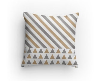 White, Grey and Tan Designer Pillow