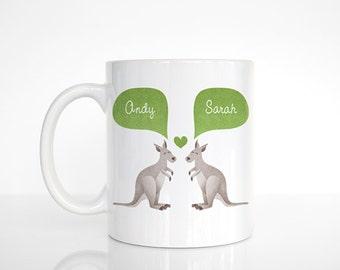 KANGAROO Mug, Animal Couple Mug, Custom Mug, Anniversary Gift for Men, Unique Coffee Mug, Personalized Mug, Coffee Cup, Animal Mug, Cute Mug