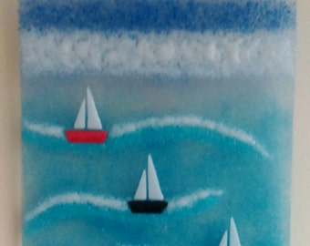 Fused Glass Wall Art Boats