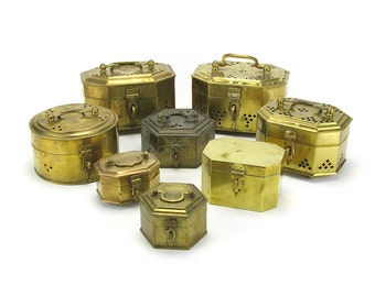 FREE SHIP! LOT of 8 Vintage Brass Cricket Boxes - Decorative Trinket Case Succulent Pot Chinoiserie Hollywood Regency French Country Rustic