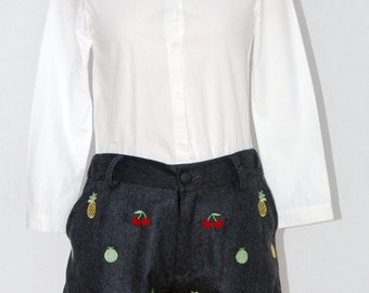 SALES Shirt Fruits / Embroidered Fruits Blouse / Handmade White Blouse / Peter pan collar / Small / Medium