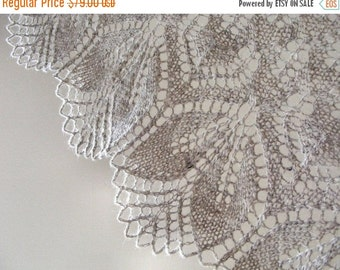SALE 50% Hand knitted shawl, women's lace shawl, wool triangle scarf, wrap, organic wool, handmade, natural grey gray,  Christmas  gift for