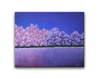 Contemporary wall art abstract lavender pink blue forest landscape 24x20 ready to hang acrylic modern art original painting