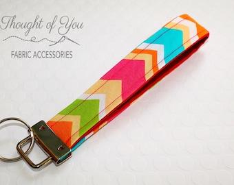 Wristlet Keychain-bright chevron, preppy keychain, key fob, sherbet, ready to ship