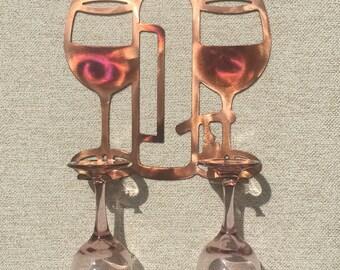 Wine Glass Holder Kitchen Or Bar Metal Art