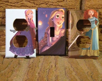 Disney Princess Light Switch and Electric Cover, Frozen Anna, Brave, Tangled Rapunzel, Nursery, Baby Shower, Decor, Decoration, MIX1