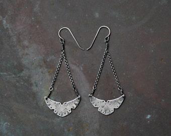 Aerial Runes Earrings - Edgy Boho Chic Sterling Silver - Rustic Textured Bohemian Earrings - Geometric Modern Dangle - Southwestern Bird