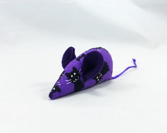 Halloween cat toy, Organic catnip mouse, black cat, black and purple