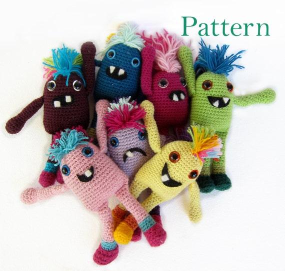 Amigurumi Monster Pattern : Amigurumi Crochet Monster Softie Soft Toy Pattern Seamless