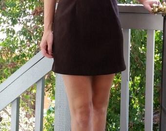 90s Mini Dress Chocolate Brown - XS