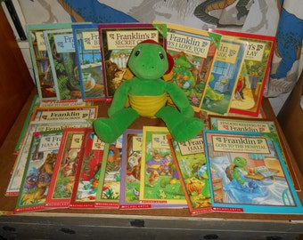 Lot of 20 FRANKLIN The Turtle Books and Talking Plush doll